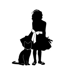 Silhouettes girl and cat vector