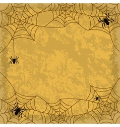 Spiders and cobwebs on wall background vector image