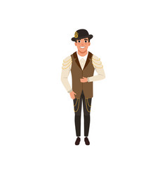 Steampunk man young guy in shirt pants vest vector