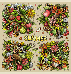 Summer nature cartoon doodle designs set vector