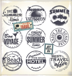 summer vacation grunge rubber stamp vector image