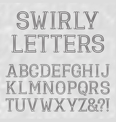 Swirly font black capital letters lines on a vector