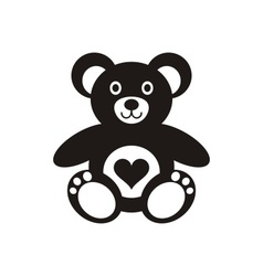 Teddy bear icon with heart vector