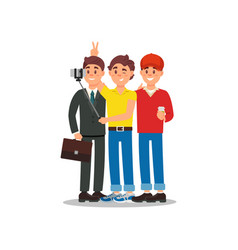 three friends making photo using smartphone and vector image