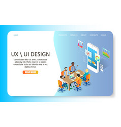 Ux or ui design landing page website vector