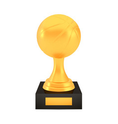 Winner basketball cup award on stand with empty vector