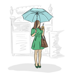 woman under umbrella and coffee in her hand vector image