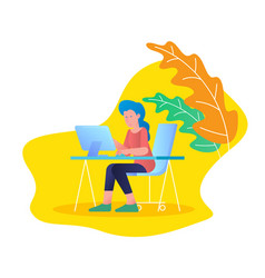 woman working with laptop computer at tale desk vector image