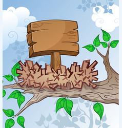 wooden sign in a bird nest cartoon vector image