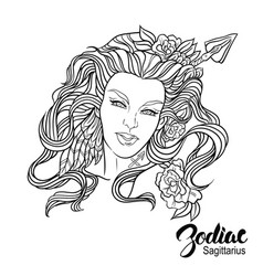 Zodiac of sagittarius as girl with vector