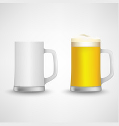 beer glass empty and full design template vector image vector image