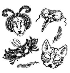 Carnival mask icon sketch set vector