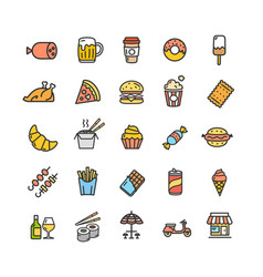 fastfood and street food color thin line icon set vector image vector image