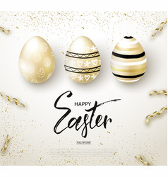 Happy easter background with realistic golden vector