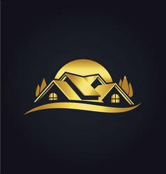 home eco environment gold logo vector image vector image