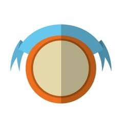 Round shield orange frame and ribbon shadow vector