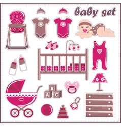 Scrapbook elements with baby girl things vector image vector image
