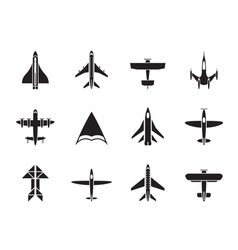 Silhouette different types of plane icons vector image vector image