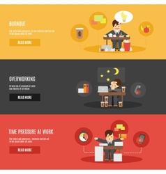 Stress at work flat banners set vector image