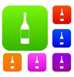 wine bottle set color collection vector image
