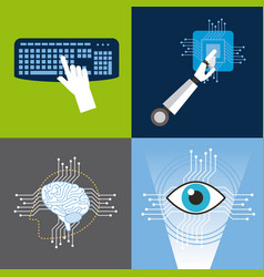 artificial intelligence icons set technology vector image