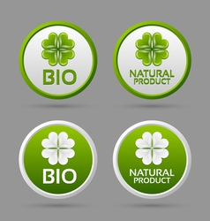 Bio and natural product badge icons vector image