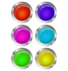 Blank Glossy Round 3D Button Set Collection vector image