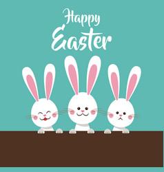 cute bunnies happy easter vector image