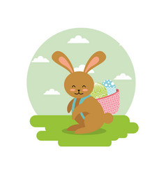 cute bunny with basket on his back with eggs in vector image
