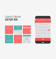 Flat UI or UX mobile calendar and weather apps kit vector image vector image