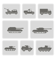 icon set with military equipment vector image