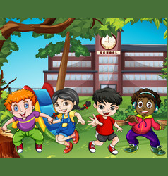 many happy children play at school vector image