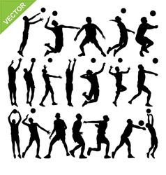 Men volleyball player silhouettes vector image vector image