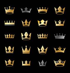 royal crowns ancient emblems elements set vector image vector image