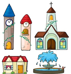 A clock tower church house and fountain vector image vector image