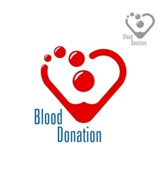 Blood donation symbol with heart made of red drops vector image vector image