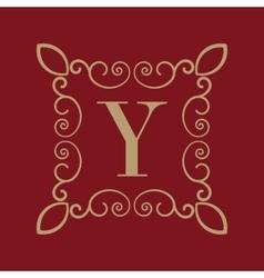 Monogram letter y calligraphic ornament gold vector