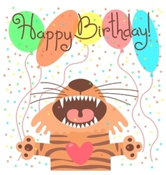 Cute happy birthday card with funny tiger vector image