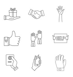 hand over icons set outline style vector image vector image