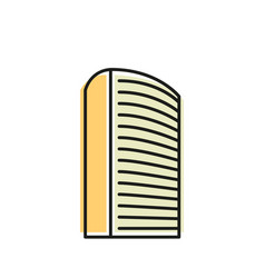 Isolated yellow color skyscraper in lineart style vector