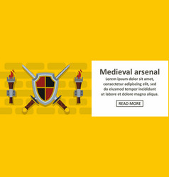 medieval arsenal banner horizontal concept vector image vector image