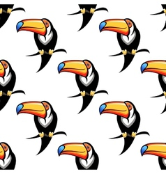 Seamless pattern of a toucan with a big bill vector image
