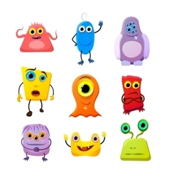 Set of cute monsters cartoon characters on white vector image vector image
