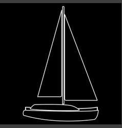 yacht the white path icon vector image