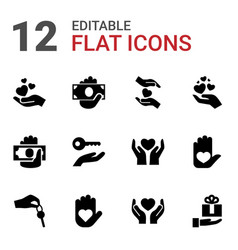 12 giving icons vector