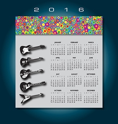 2016 Colorful guitar calendar vector image