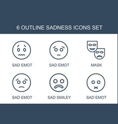 6 sadness icons vector