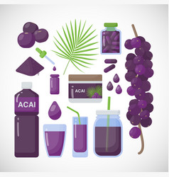 Acai berries flat icons set vector