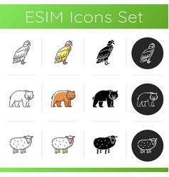 animal species icons set vector image