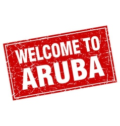 Aruba red square grunge welcome to stamp vector